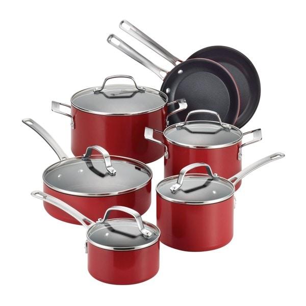 Circulon Genesis Aluminum Nonstick 12-piece Red Cookware ...