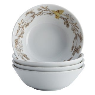 BonJour Dinnerware Fruitful Nectar Porcelain 4-piece Print Fruit Bowl Set