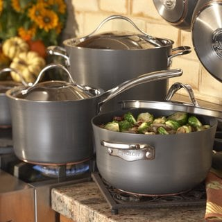 Anolon Nouvelle Copper Hard-anodized Nonstick 5-quart Covered Dutch Oven Dark Grey