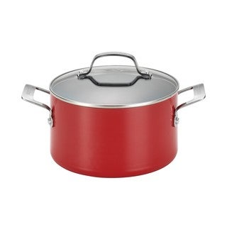 Circulon Genesis Aluminum Nonstick 4 1/2-quart Red Covered Dutch Oven