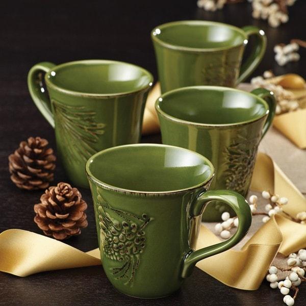 BonJour Dinnerware Sierra Pine 4-piece Forest Stoneware Mug Set