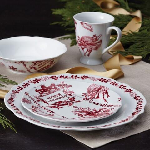 BonJour Dinnerware Yuletide Garland Print 4-piece Porcelain Stoneware Fluted Dinner Plate Set