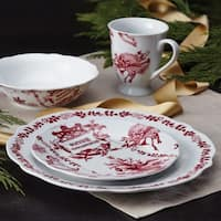 BonJour Dinnerware Yuletide Garland Print 4-piece Porcelain Stoneware Fluted Dinner Plate Set