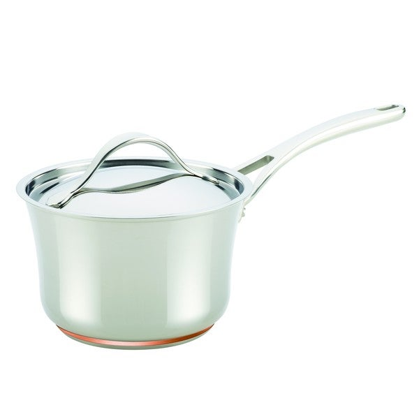 Anolon Nouvelle Copper Stainless Steel 3 1/2-quart Covered Saucepan. Opens flyout.