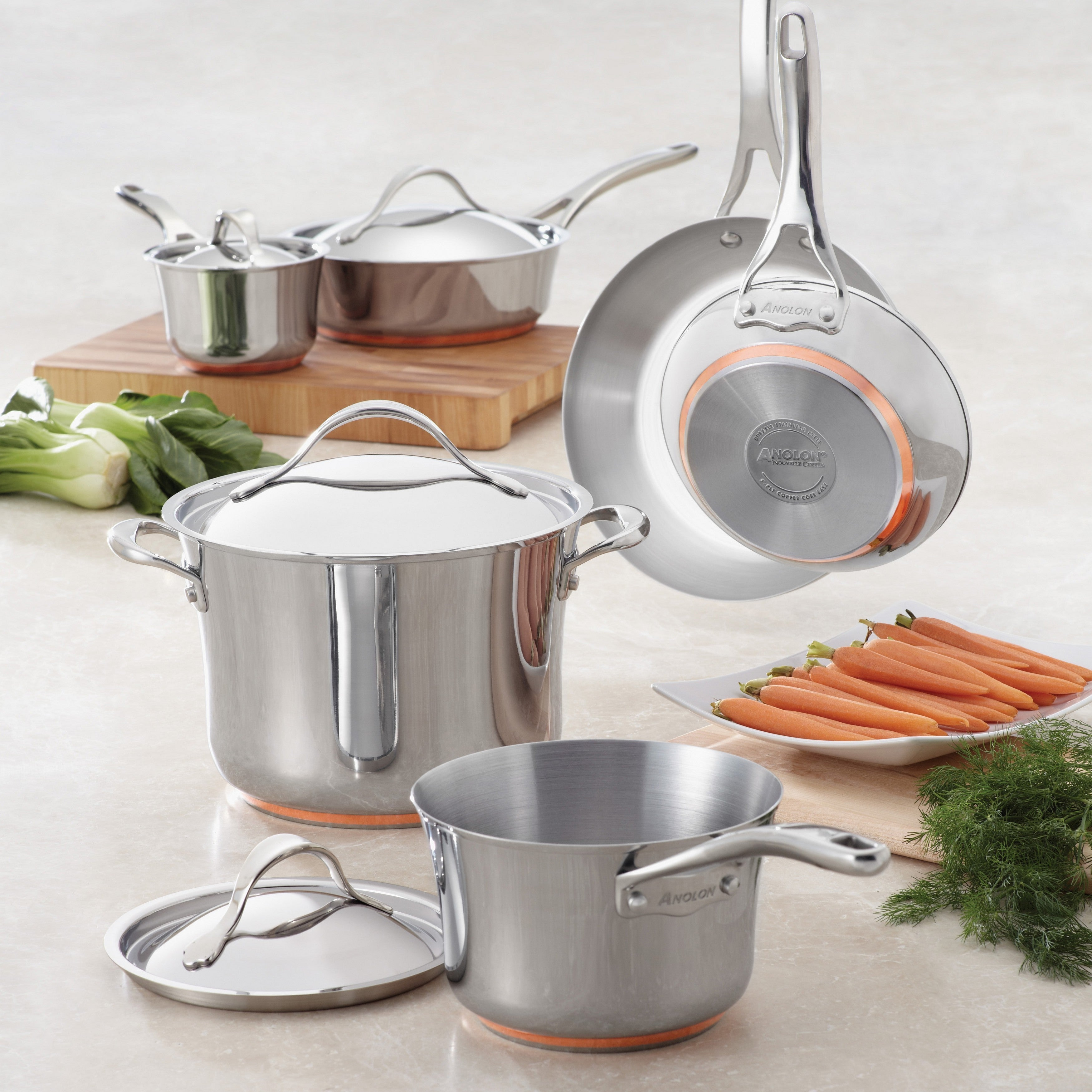 Anolon Nouvelle Copper Stainless Steel 3 1 2 Quart Covered Saucepan Overstock 9206701