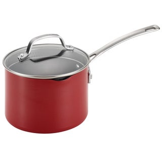 Circulon Genesis Aluminum Nonstick 3-quart Red Covered Straining Saucepan