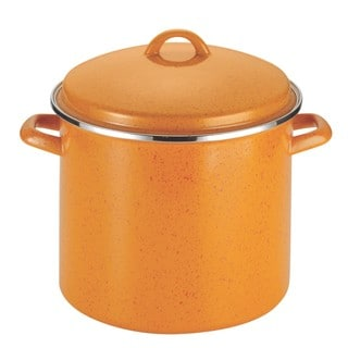 Paula Deen Signature Enamel on Steel 12-quart Orange Speckle Covered Stockpot