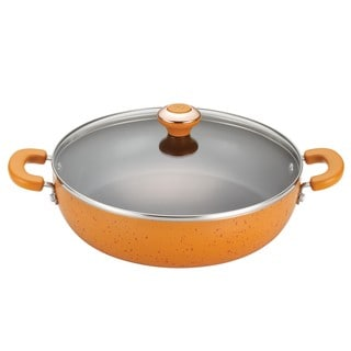 Paula Deen Signature Porcelain Nonstick 12-inch Orange Speckle Covered Chicken Fryer