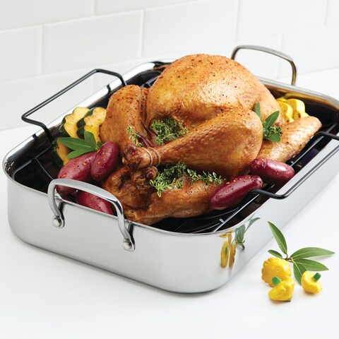 Anolon Tri-Ply Clad Stainless Steel 17-inch by 12-1/2-inch Large Rectangular Roaster with Nonstick Rack
