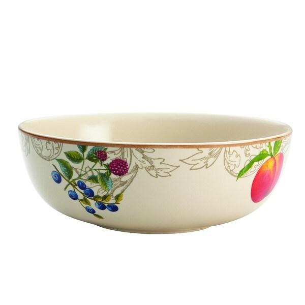 BonJour Dinnerware Orchard Harvest Stoneware 9-inch Print Serving Bowl