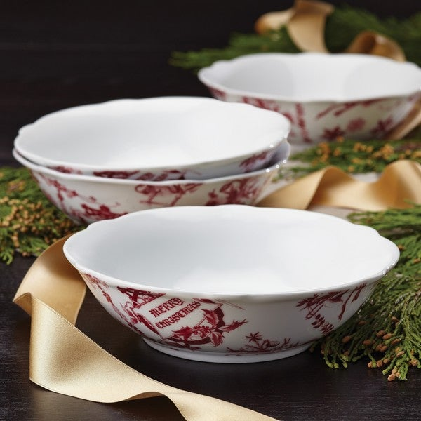 BonJour Dinnerware Yuletide Garland 4-piece Print Porcelain Fluted Cereal Bowl Set