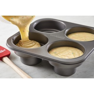 Cake Boss Novelty Bakeware Nonstick 4-cup Grey Round Cakelette Pan