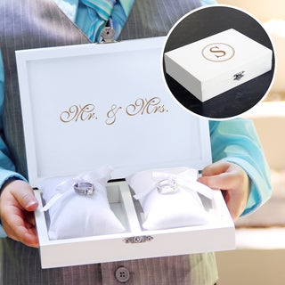 Personalized White Ring Bearer Pillow Box