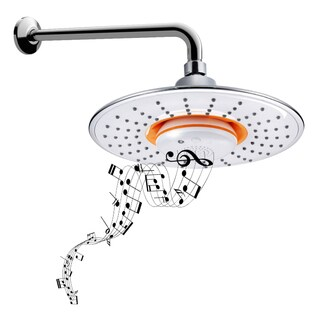 BIDET4ME MSH-10 2.5 GPM Polished Chrome Rain Showerhead and Wireless Speaker Pack