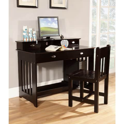 Solid Pine Student Desk with Hutch