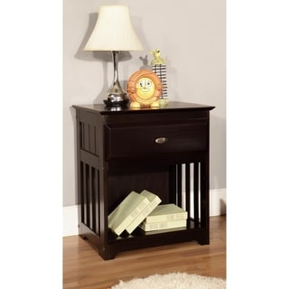 Solid Pine Espresso One Drawer Night Stand