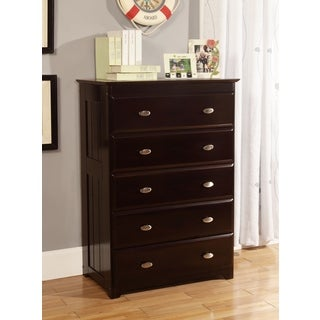Solid Pine Espresso Five Drawer Chest