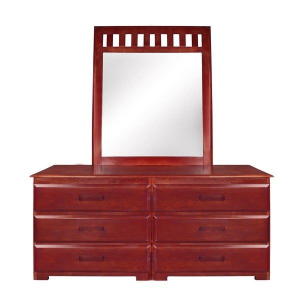 6 Drawer Solid Pine Dresser With Mirror Brown