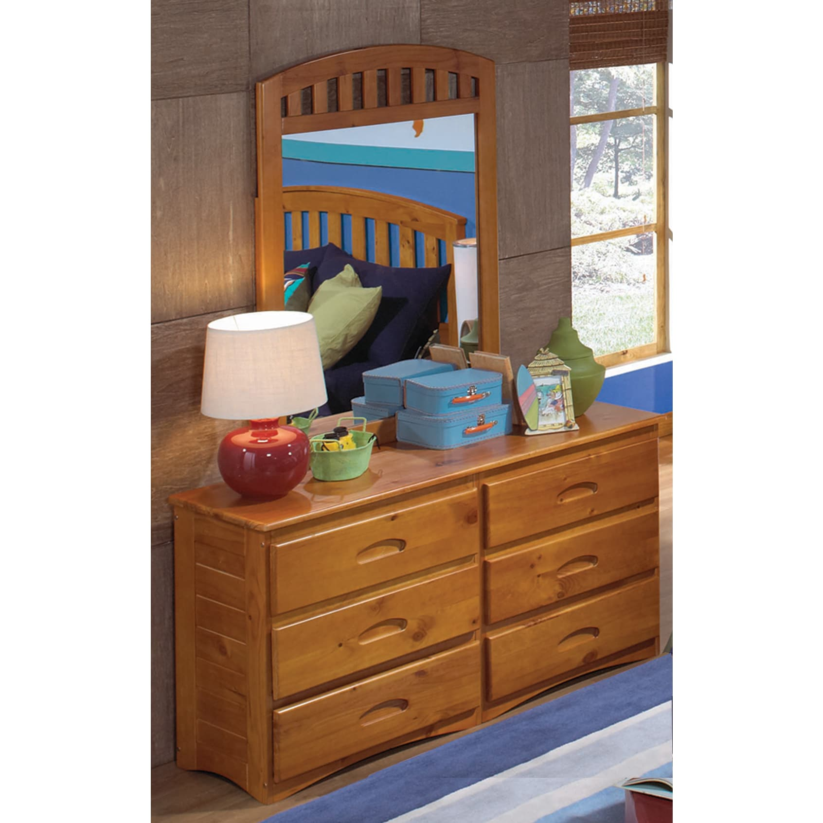 6 Drawer Honey Pine Wood Dresser