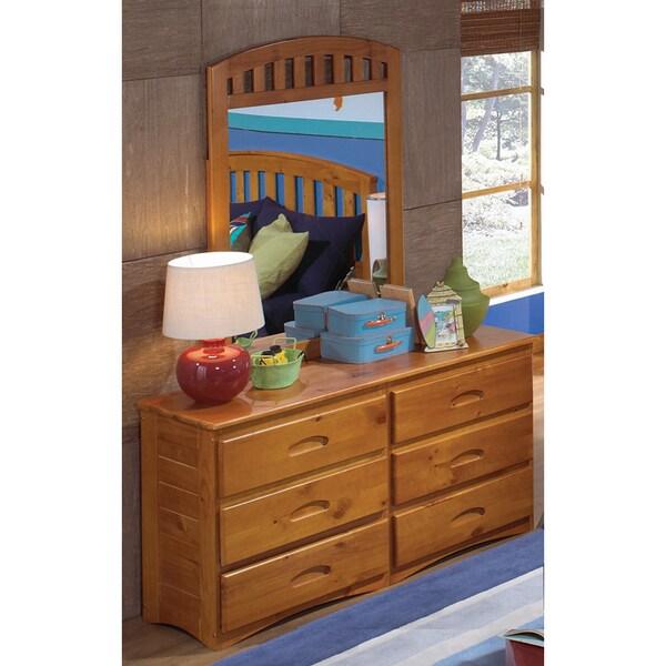 6 Drawer Honey Pine Wood Dresser Mirror Set