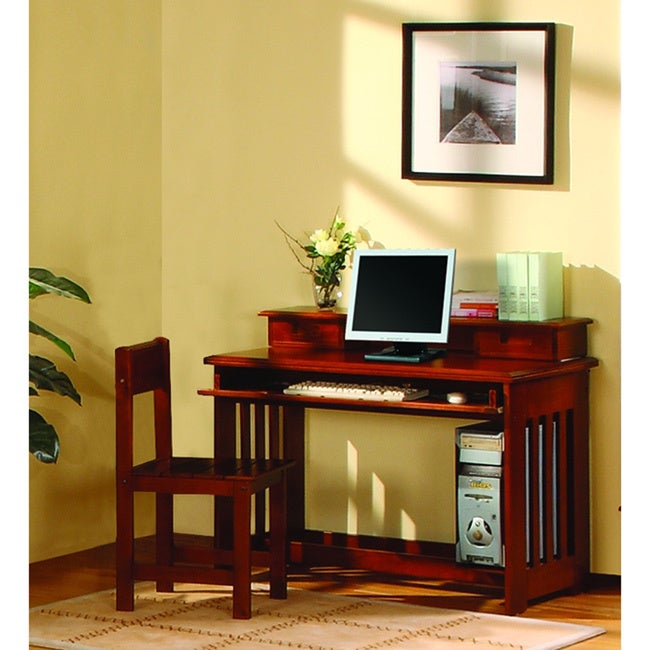 American Solid Pine Desk with Hutch (Student Desk with Hu...
