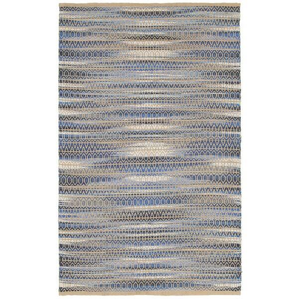 LR Home Natural Fiber Blue Ikat Area Rug (9' x 12' )