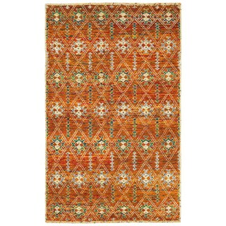 Hand-knotted Nisha Rust Contemporary Rug (7'9 x 9'9)