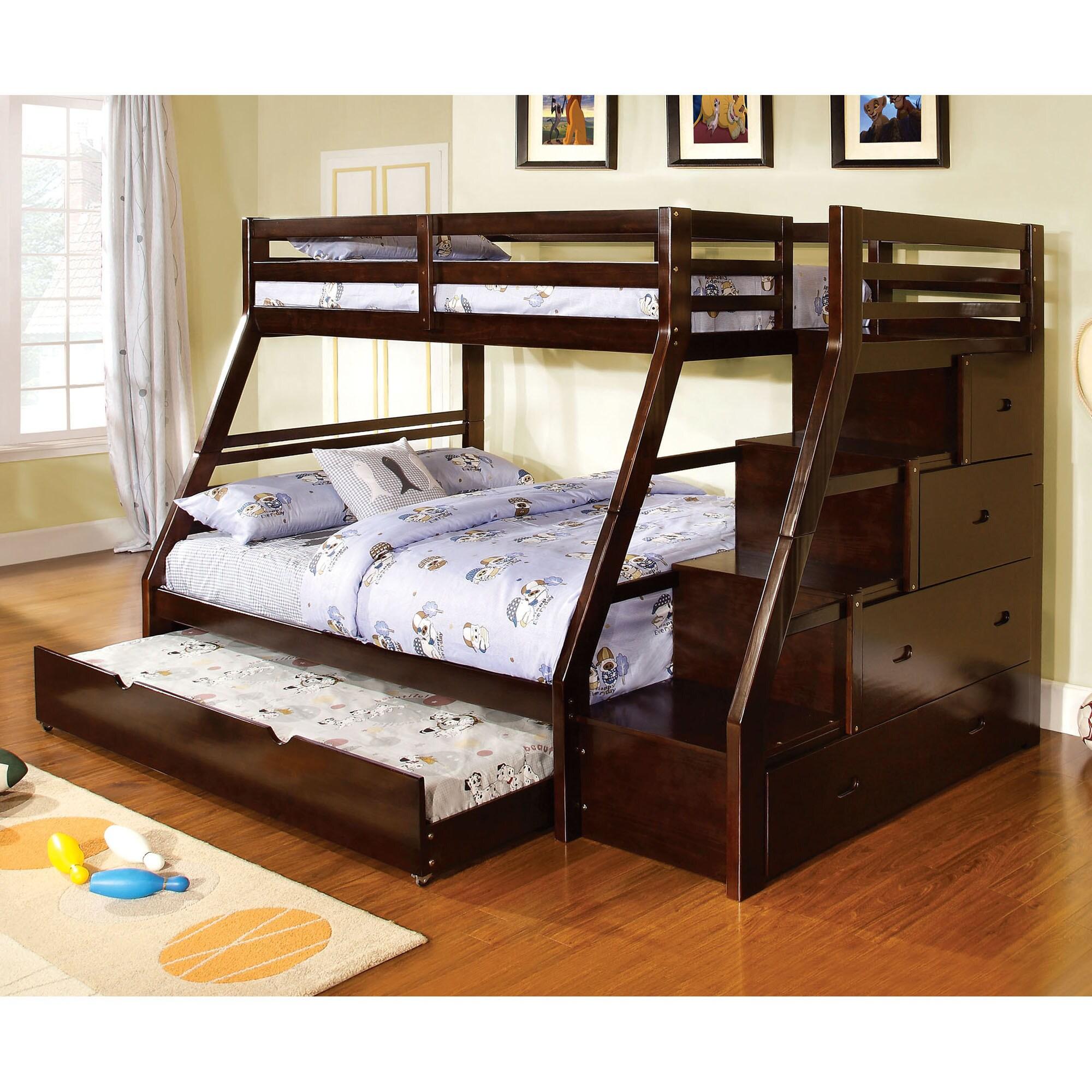 Shop Dark Walnut Finish Twin Over Full Bunk Bed Free Shipping On
