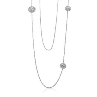 Gioelli Sterling Silver Designer Heart Ball Station Chain Necklace