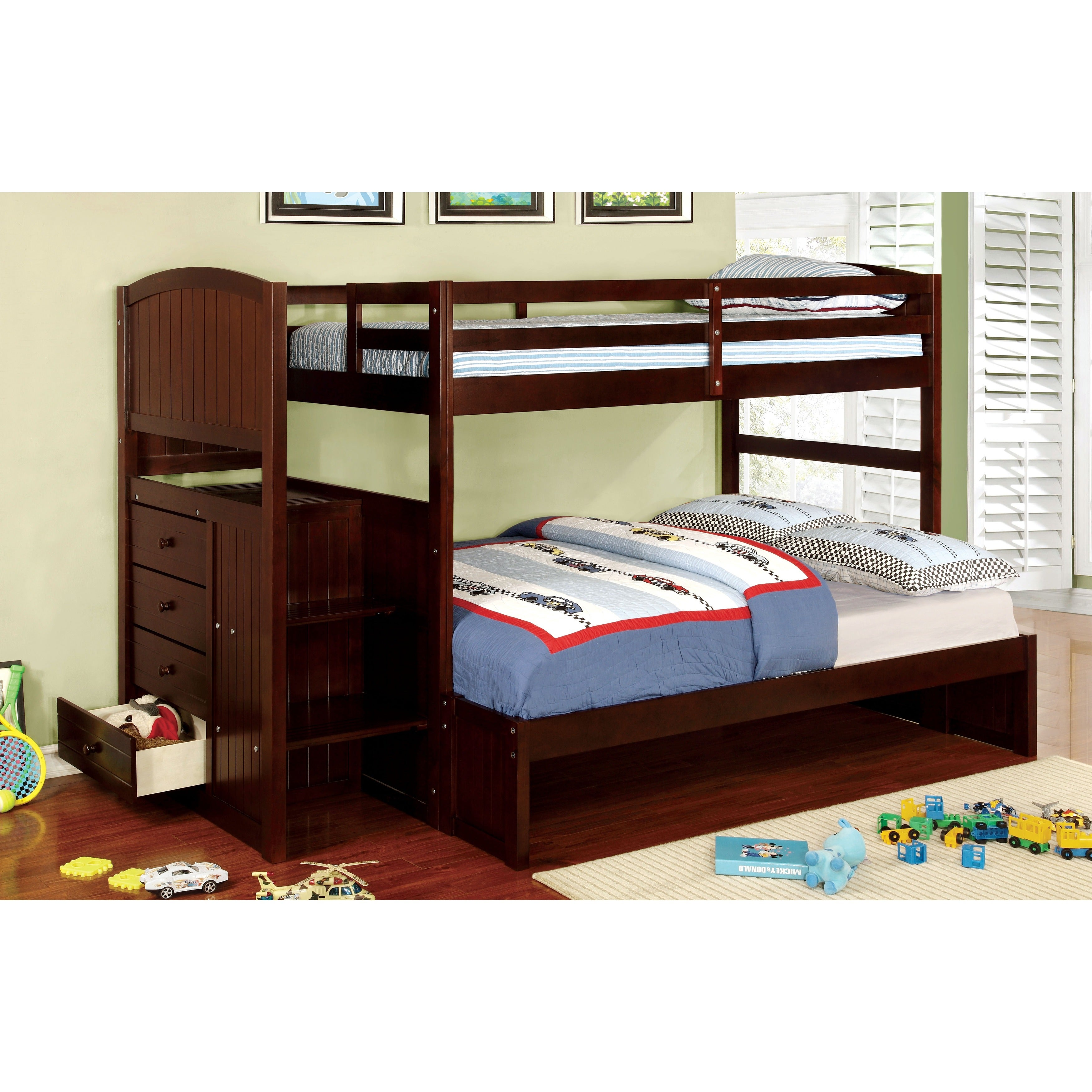 Furniture of America Redenell White/Expresso Bunk Bed wit...