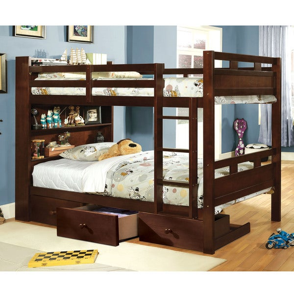 Furniture Of America Chessin Dark Walnut Bunk Bed With Built In Bookcase Headboard