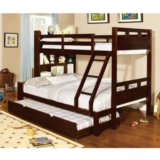 Furniture of America Chessin Dark Walnut Bunk Bed with Built-In Bookcase Headboard