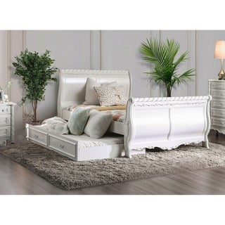 Furniture of America Mystical Reign Pearl White Sleigh Bed