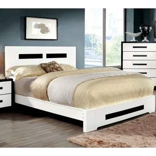 Furniture of America Feas Modern White Solid Wood Geometric Panel Bed