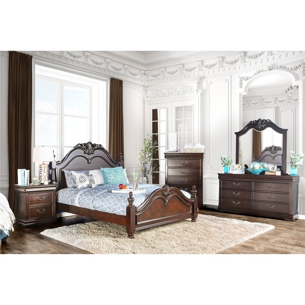 Furniture Of America Bastillina English Style 4 Piece Cherry Poster Bedroom Set