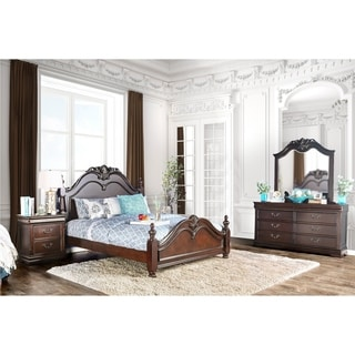 Furniture of America Bastillina English Style 4-piece Cherry Poster Bedroom Set