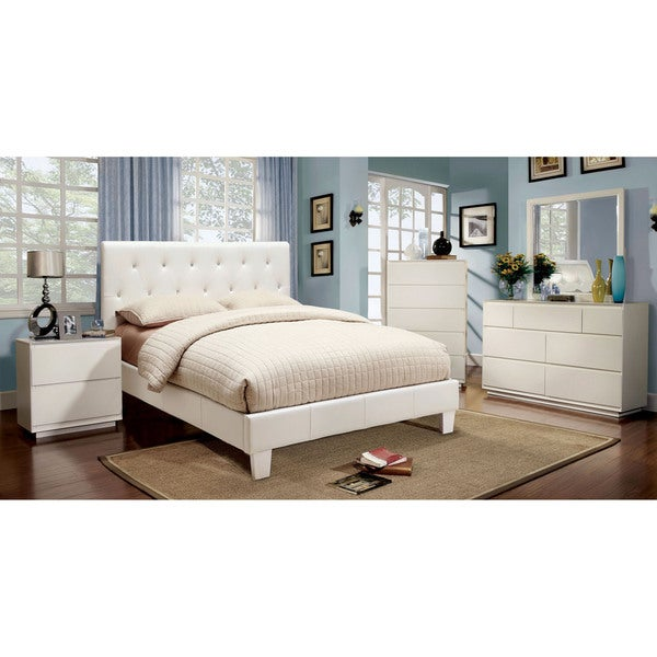 Shop Furniture Of America Mircella 4 Piece White Leatherette Bedroom Set Free Shipping Today