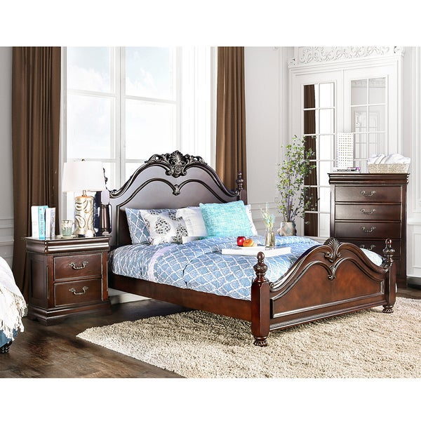 Furniture Of America Bastillina English Style 2 Piece Cherry Poster Bed With Nightstand Set