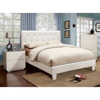Furniture of America Mircella 2-piece White Leatherette Platform Bedroom Set