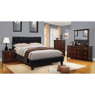 Furniture of America Mircella 4-Piece Black Leatherette Bedroom Set