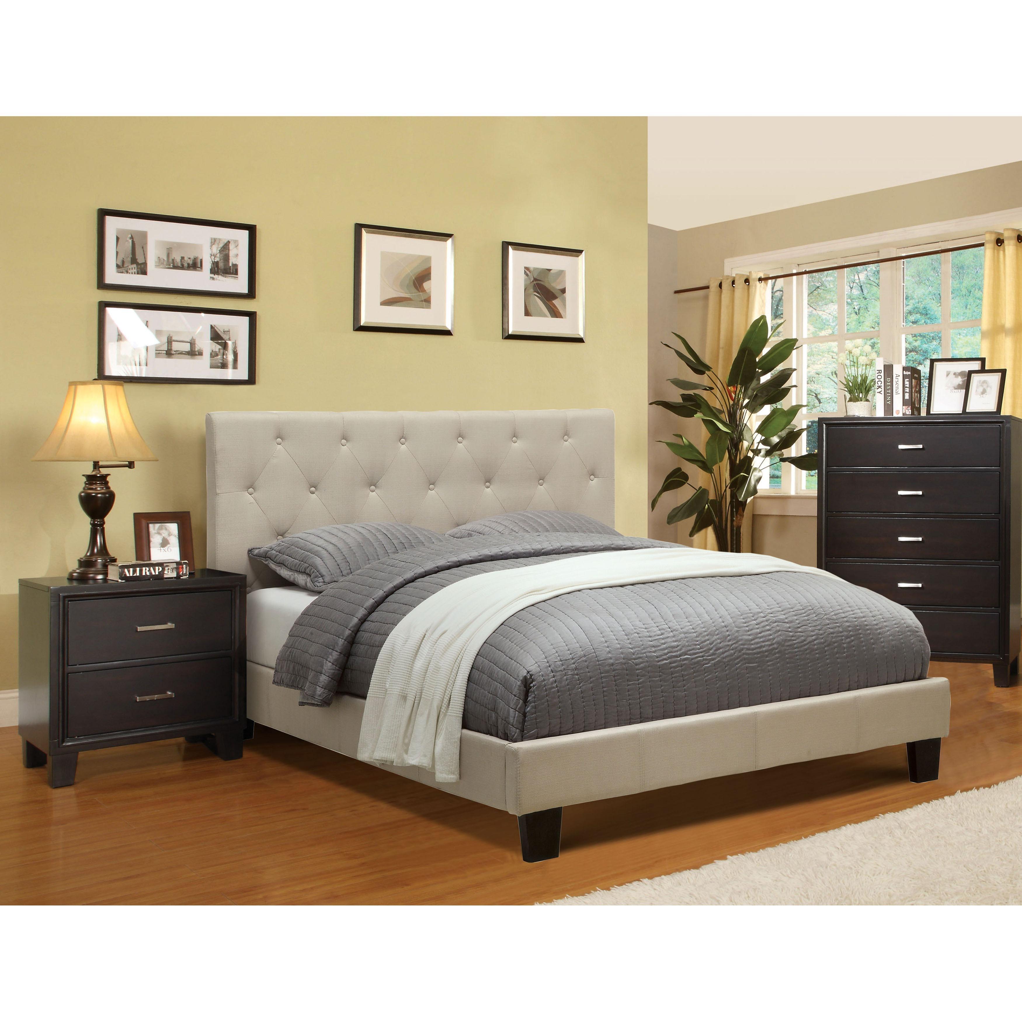Furniture of America Perdella 3-piece Ivory Low Profile Bedroom ...
