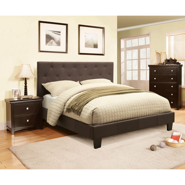 Furniture Of America Perdella 2 Piece Grey Low Profile Bed With Nightstand Set Free Shipping
