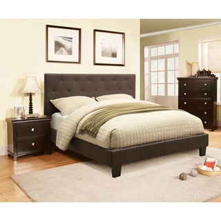 Furniture Of America Perdella 2 Piece Grey Low Profile Bed With Nightstand  Set (Option Photo