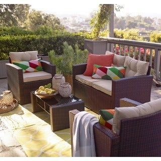 the-Hom Roatan Brown 4-piece Outdoor Wicker Coversation Set