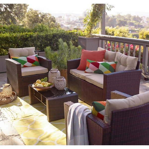 The Hom Roatan Brown 4 Piece Outdoor Wicker Coversation Set Free Shipping Today Overstock