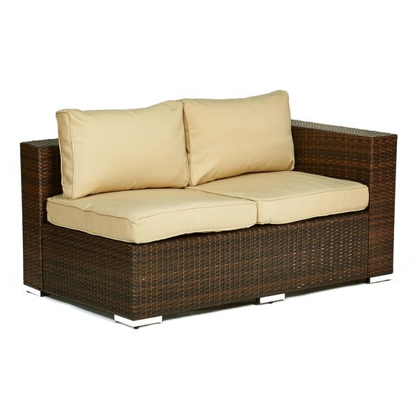 The Hom Kessler Brown 4 Piece Outdoor Wicker Sectional Sofa Set   Free  Shipping Today   Overstock.com   16377858