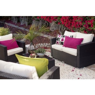 the-Hom Vomo 4-piece White/ Black Outdoor Wicker Coversation Patio Set
