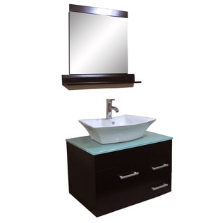 Kokols 29-inch Solid Oak/ Tempered Glass Bathroom Vanity