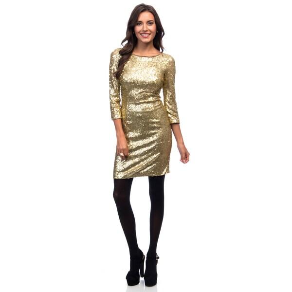Marc New York Goldtone 3/4 Sleeve Scoop Back Sequin Dress. Opens flyout.