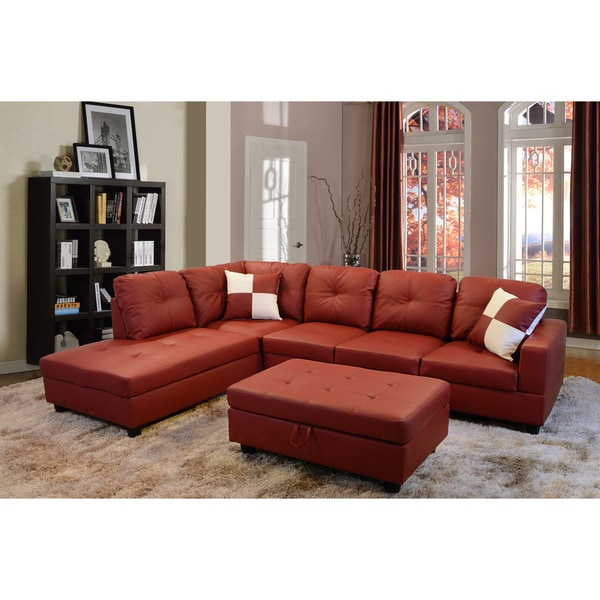 Delma 3 Piece Red Faux Leather Furniture Set